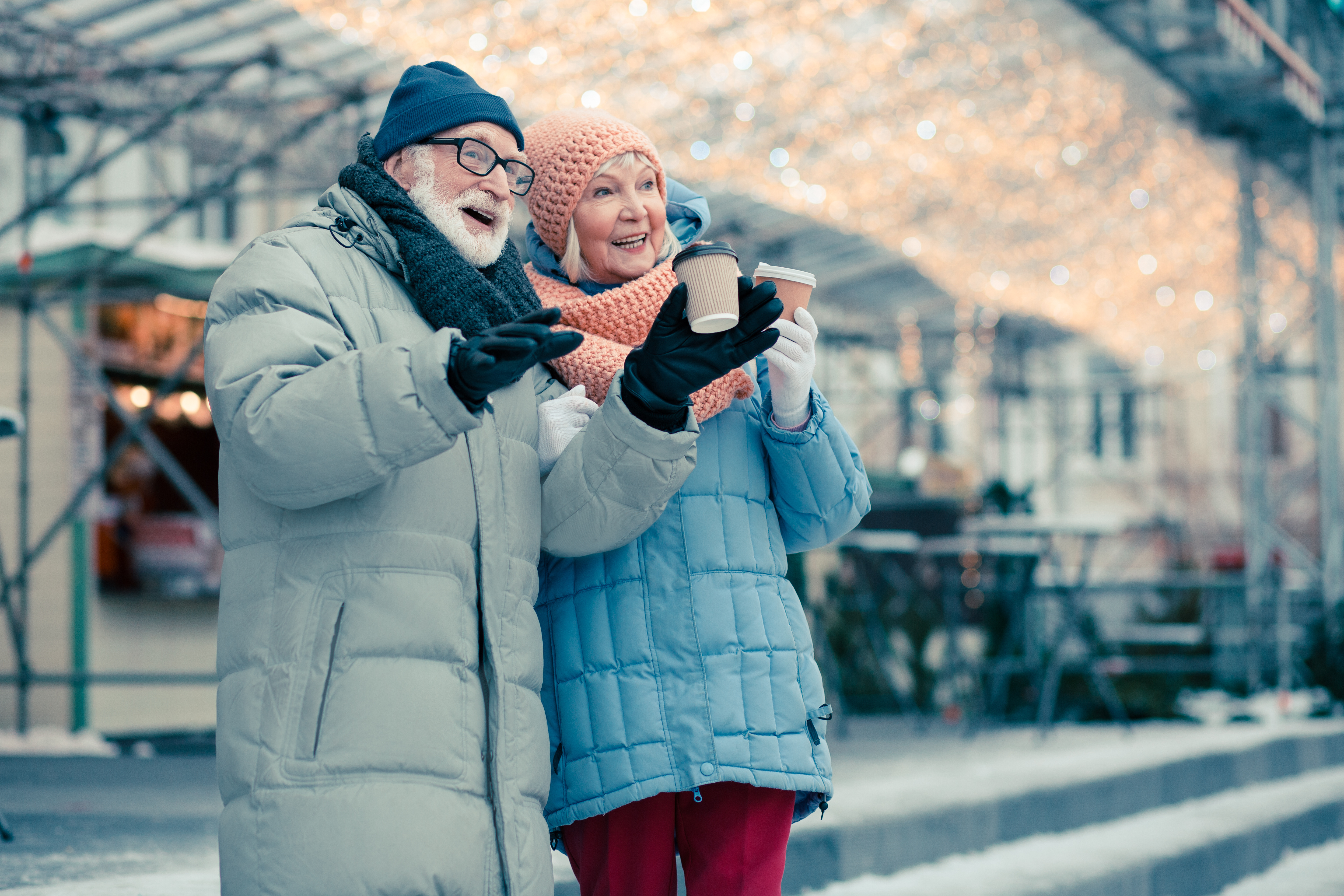 Elderly Couple in Winter Clothes